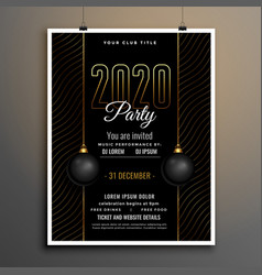 elegant black and gold new year party flyer vector image