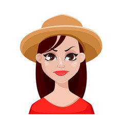 Face expressions of farmer woman in hat vector