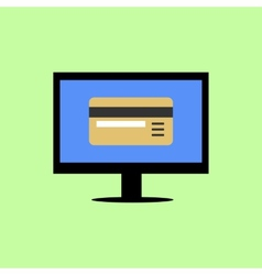 Flat style computer with bank card vector image