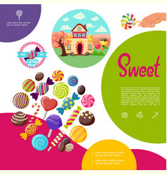flat sweet products template vector image