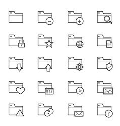 Folder icons line vector