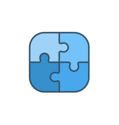 Four pieces puzzle concept blue icon vector