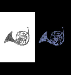 French horn music instrument black and blue vector