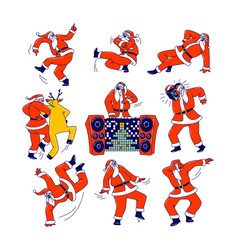 funny santa claus and reindeer dancing christmas vector image