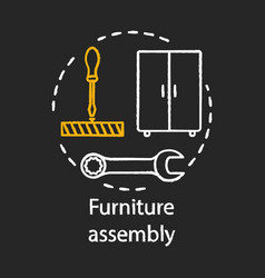 Furniture assembly chalk concept icon home vector
