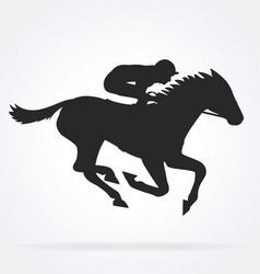 Galloping racehorse with jockey silhouette01 vector