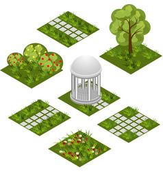 garden isometric tile set isolated isometric vector image