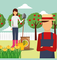 gardener man and woman with shovel potting soil vector image