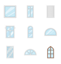 Glass painting icons set cartoon style vector