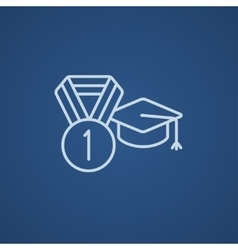 Graduation cap with medal line icon vector image