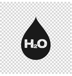 Grey water drop with h2o icon isolated on vector