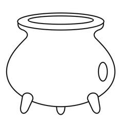 Halloween cauldron icon outline style vector