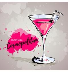 Hand drawn cocktail cosmopolitan vector