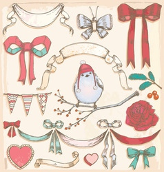 Hand Drawn Vintage Bird Ribbons and Bows Set vector image