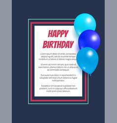 happy birthday poster inflatable balloons in frame vector image
