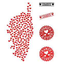 Heart collage map corsica and grunge stamps vector