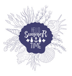 hello summer time banner template summer time vector image