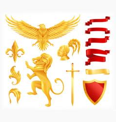 heraldic animals set vector image
