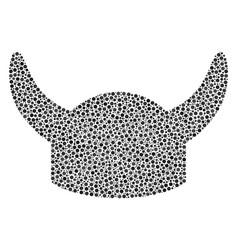 horned helmet composition of small circles vector image