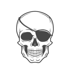 Human evil skull Jolly Roger with eyepatch vector