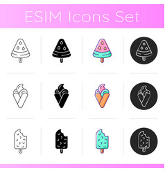 Ice cream varieties icons set vector