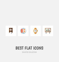 Icon flat life set of pendulum breakfast chart vector