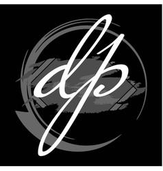 Initials d p modern handwritten signature logo vector