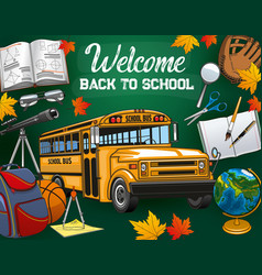 invitation back to school bus and stationery vector image
