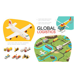 isometric global transportation infographics vector image