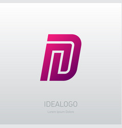 letter n and d logo design minimal monogram vector image