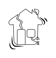 Line house earthquake desaster and natural vector