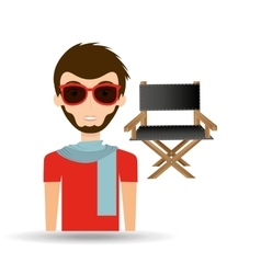 Man hipster concept movie cinema director chair vector