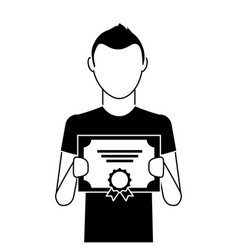 man winner with diploma vector image