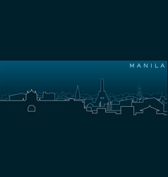 Manila multiple lines skyline and landmarks vector