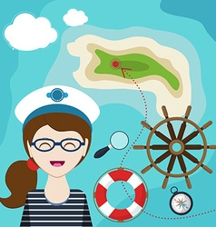Map with a sailor lifeline steering wheel compass vector