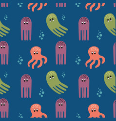 marine seamless pattern with octopus vector image