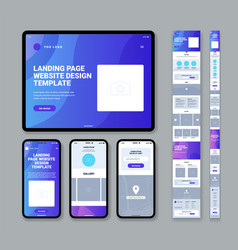 mobile website landing page template vector image