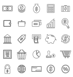 Money line icons on white background vector