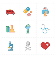 Nine flat medicine icons vector