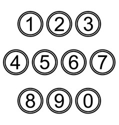 numbers symbols icons signs black and white set 2 vector image