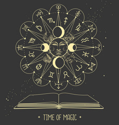 Open book with astrology wheel with zodiac signs vector