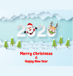 Origami paper art santa claus and reindeer on vector