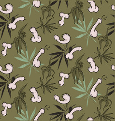 penis funny floral seamless pattern freenery vector image