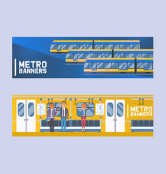 people passangers in subway car modern city vector image