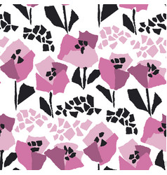 poppies blossom hand drawn seamless pattern vector image