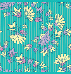 Purple yellow flowers seamless repeat vector