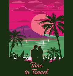 Retro vintage style travel poster or sticker vector