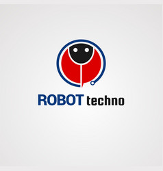 Robot techno logo icon element and template for vector
