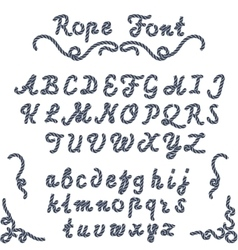 Rope font nautical hand written Letters vector image