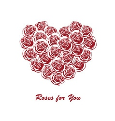 Roses in the shape of heart vector